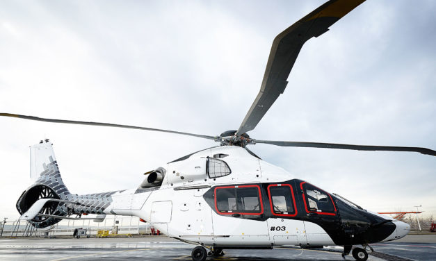 "The third H160 prototype receives its ""carbon"" livery"