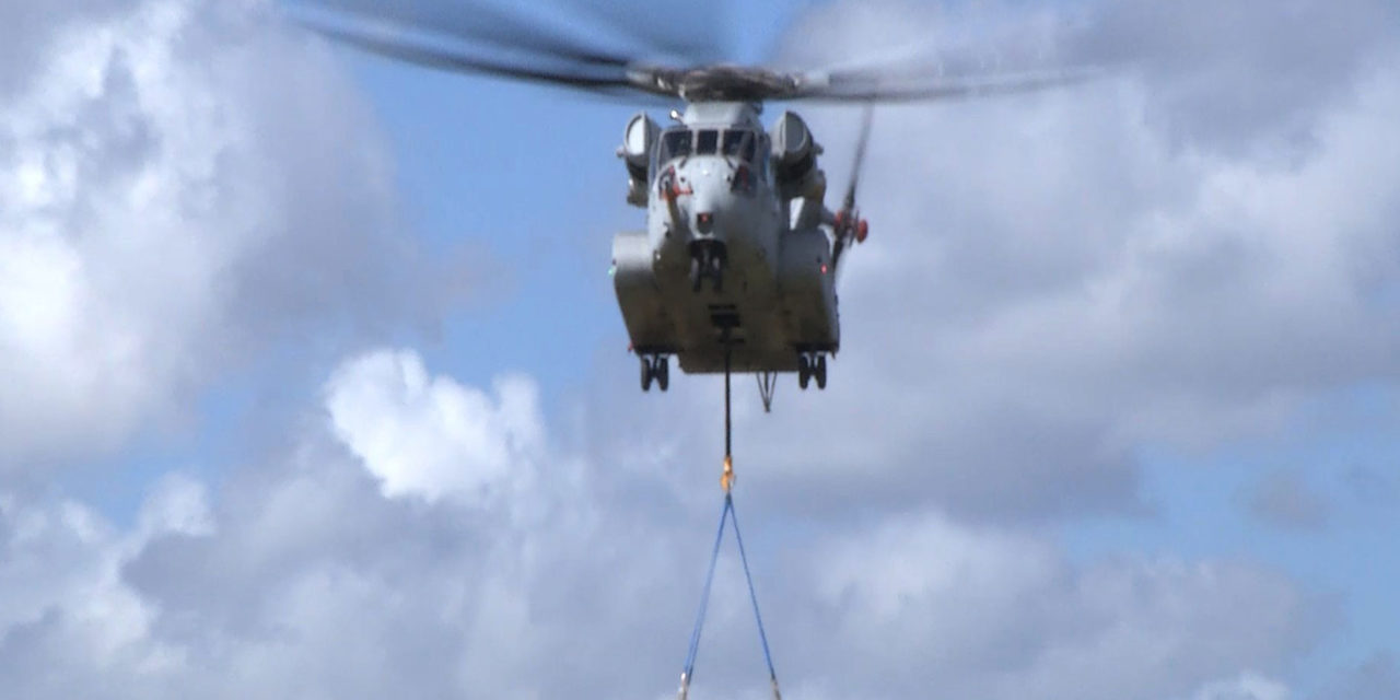 Sikorsky CH-53K completes critical flight envelope expansion with 36,000-pound external lift.
