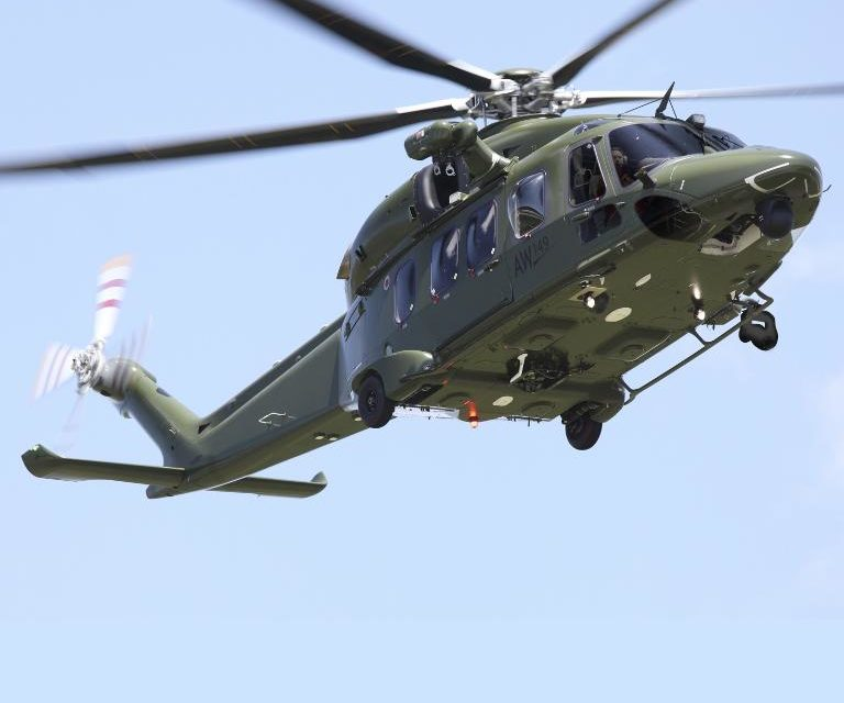 Leonardo displays AW149 helicopter at the DSEI 2019 exhibition