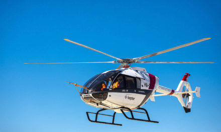 Kopter presenting the final design features of its SH09 helicopter at HAI Heli-Expo 2020